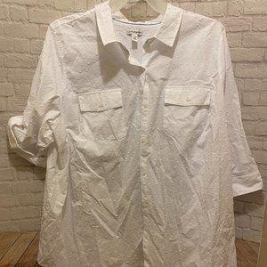 Croft & Barrow White Button-Up Blouse   3X  *NWT*